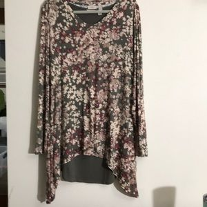 LOGO Layered 2 piece Tunic Floral Set  Sz XL